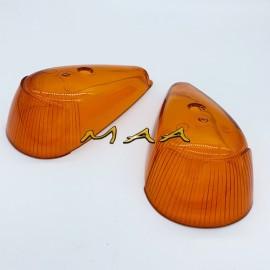 Lente da lanterna dianteira, pisca dianteiro do Fusca Sorriso Curto 1965 até 1970 - acrílico amarelo, PAR